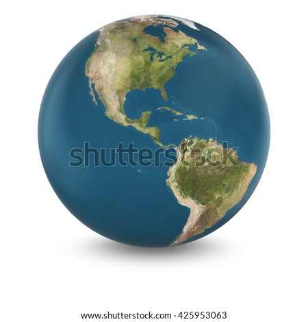3D Illustration of Cloudless Planet Earth Isolated on White - Elements of this image furnished by NASA