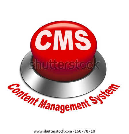 3d illustration of cms content management system) button isolated white background - stock photo