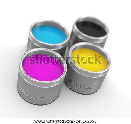 3d illustration of cmyk cyan, magenta, yellow, and key(black) printing color paint bucket cans - stock photo