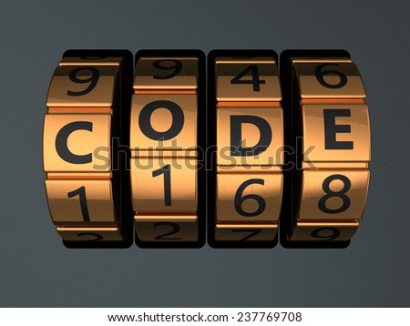 3d illustration of code lock dial with text 'code' on it - stock photo