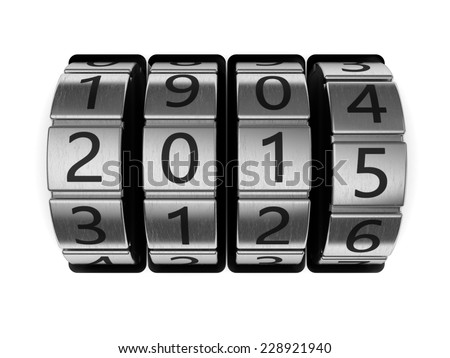 3d illustration of 2015 code lock, new year concept - stock photo