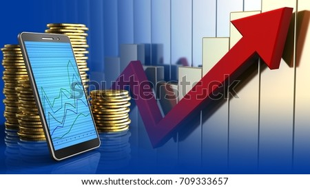 3d illustration of coins over rising charts background with phone