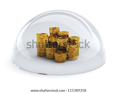3d illustration of coins with shield isolated on white background - stock photo