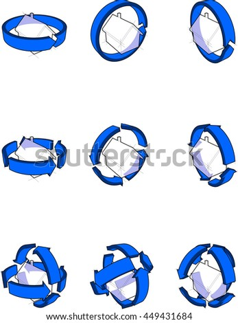 3d illustration of collection of nine diagrams of a simple detached house with blue arrows rotating around the house - stock photo
