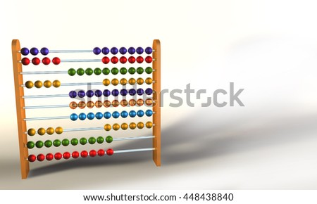 3D illustration of colored Abacus on white background
