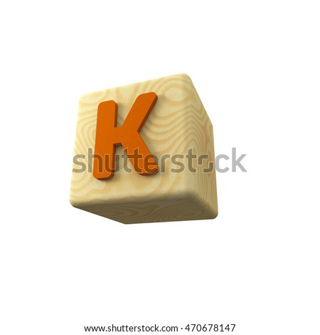3D illustration of colored letter K on a wooden toy cube on white background