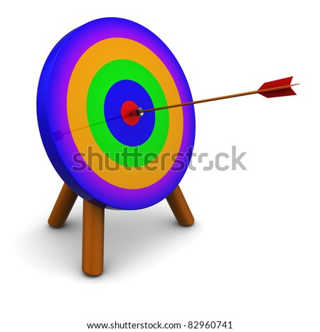 3d illustration of colorful archery target, over white background - stock photo