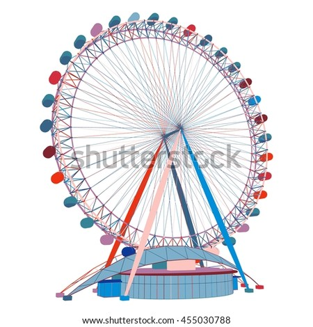 3D Illustration Of Colorful Carousel - stock photo