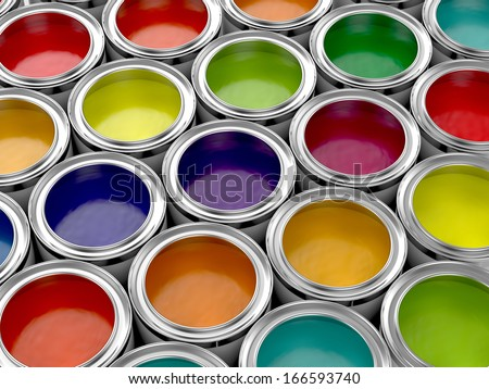 3d illustration of colorful paint cans set - stock photo