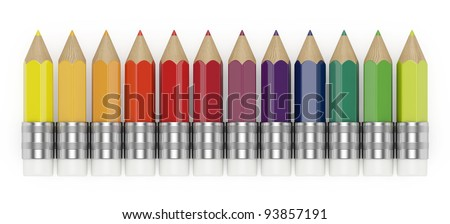 3d illustration of colorful pencils isolated on white background