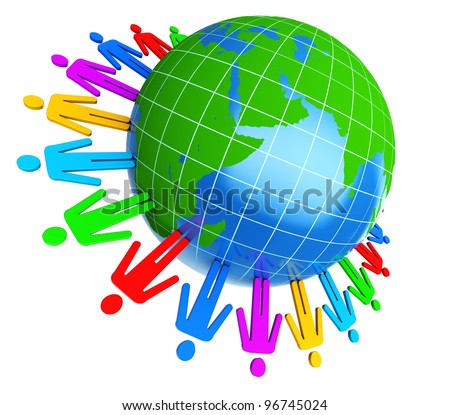 3d illustration of colorful people around earth globe - stock photo