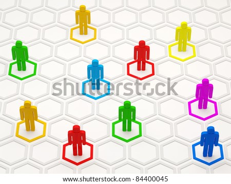 3d Illustration of Colorful People Network