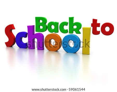 3d illustration of colorful sign' back to school', over white background