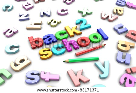 3d illustration of colorful text 'back to school' - stock photo