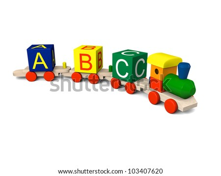 3D illustration of colorful wooden toy train with alphabet letters on the carriages