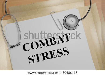 """3D illustration of """"COMBAT STRESS"""" title on medical document - stock photo"""