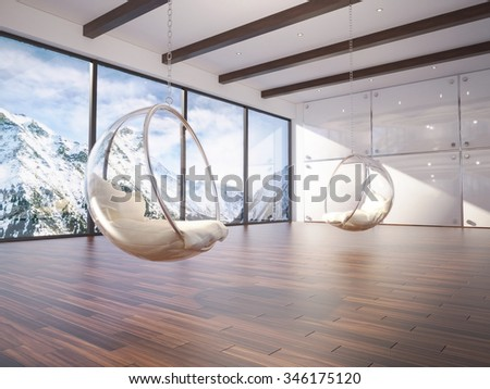 3d of comfortable interior with bubble chairs
