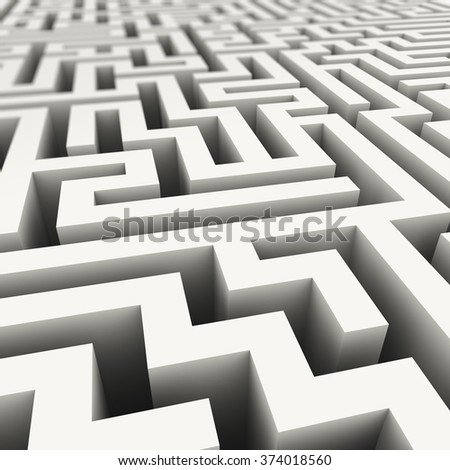 3d illustration of complicated endless maze - stock photo