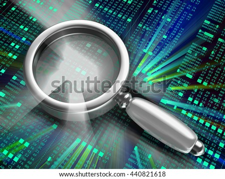 3d illustration of computer code analyzing concept - stock photo