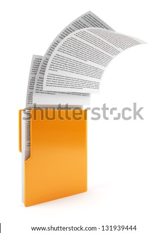 3d illustration of computer folder with flying documents. Isolated on white background - stock photo