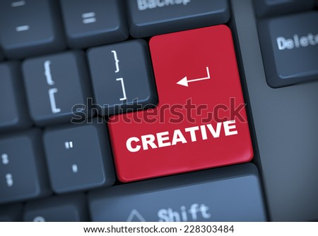 3d illustration of computer keyboard enter button with word creative - stock photo