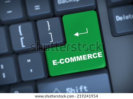 3d illustration of computer keyboard enter button with word e-commerce - stock photo