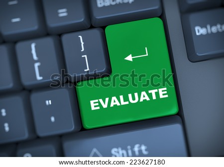 3d illustration of computer keyboard enter button with word evaluate - stock photo