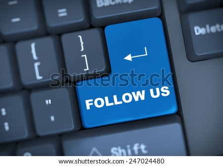 3d illustration of computer keyboard enter button with word follow us - stock photo