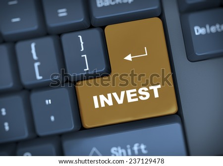 3d illustration of computer keyboard enter button with word invest - stock photo
