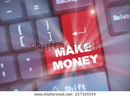 3d illustration of computer keyboard enter button with word make money - stock photo
