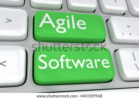 "3D illustration of computer keyboard with the print ""Agile Software"" on two adjacent green buttons. Software concept. - stock photo"