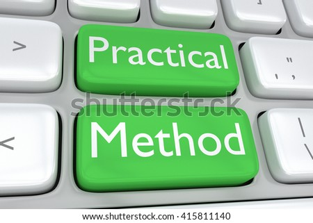 "3D illustration of computer keyboard with the print ""Practical Method"" on two adjacent green buttons. Methodology concept. - stock photo"