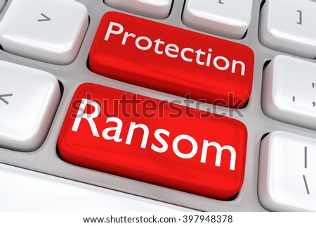 3D illustration of computer keyboard with the print Protection Ransom on two adjacent red buttons. Web malware concept. - stock photo