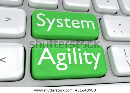 "3D illustration of computer keyboard with the print ""System Agility"" on two adjacent green buttons. Design concept. - stock photo"