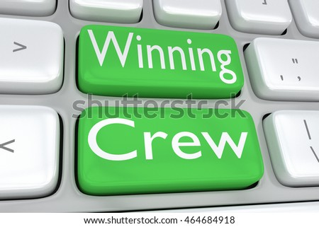 "3D illustration of computer keyboard with the print ""Winning Crew"" on two adjacent green buttons"