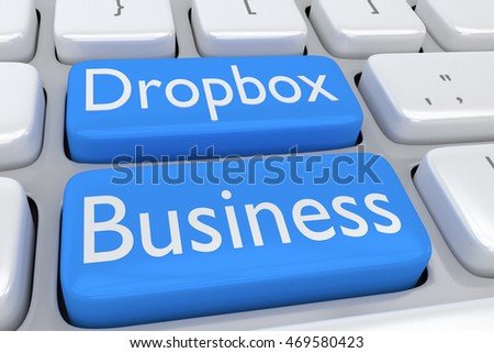 "3D illustration of computer keyboard with the script ""Dropbox Business"" on two adjacent pale blue buttons"