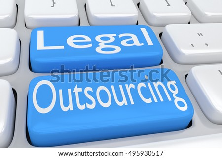 "3D illustration of computer keyboard with the script ""Legal Outsourcing"" on two adjacent pale blue buttons"