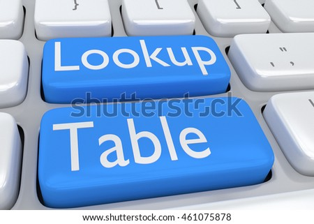 "3D illustration of computer keyboard with the script ""Lookup Table"" on two adjacent pale blue buttons"