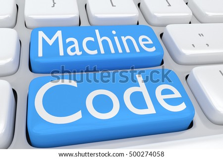 "3D illustration of computer keyboard with the script ""Machine Code"" on two adjacent pale blue buttons"