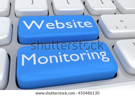"""3D illustration of computer keyboard with the script """"Website Monitoring"""" on two adjacent pale blue buttons - stock photo"""