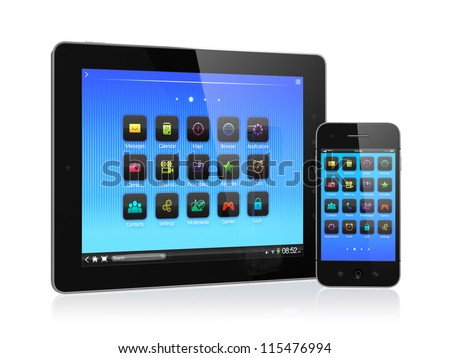3d illustration of computer tablet and mobile phone isolated on white background - stock photo
