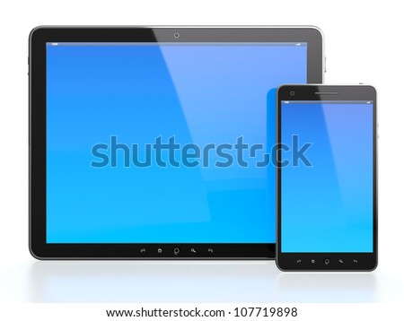 3d illustration of computer tablet and mobile phone with blue screen on white background - stock photo