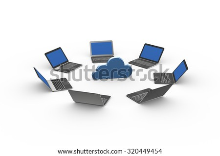 3d illustration of computers laptops around cloud computing icon symbol - stock photo