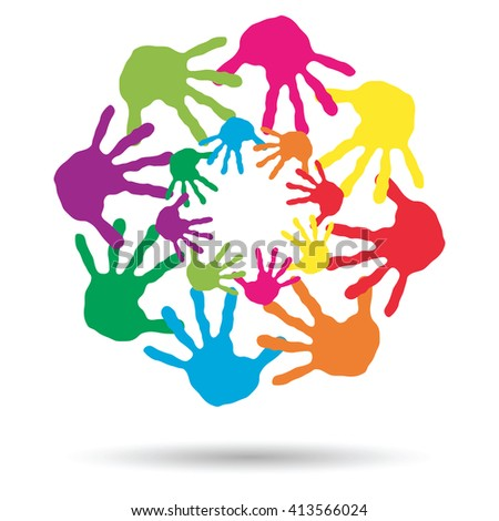 3D illustration of concept circle spiral of colorful hand prints made by children isolated on white background for paint, handprint, symbol, people, identity, together, friendship, play, fun designs - stock photo
