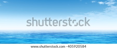 3D illustration of concept conceptual sea or ocean calm water waves, sky cloudscape exotic or paradise background for nature, peace, summer, travel, tropical, tourism, vacation or holiday seascape - stock photo