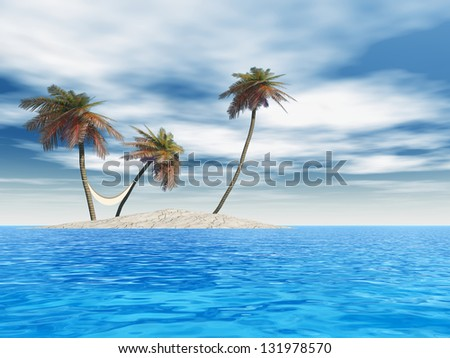 3D illustration of concept or conceptual isolated exotic island, palm tree, hammock and sand in the sea or ocean sky background with white clouds for tropical, hot, vacation, relax, leisure or tourism