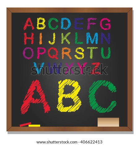 3D illustration of concept or conceptual set or collection of colorful handwritten, sketch or scribble font, black school blackboard background for education, childhood, artistic or children