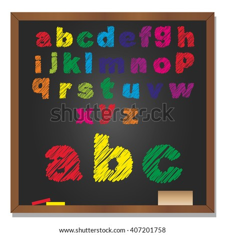 3D illustration of concept or conceptual set or collection of colorful handwritten, sketch or scribble font, black school blackboard background for education, childhood, artistic or children - stock photo