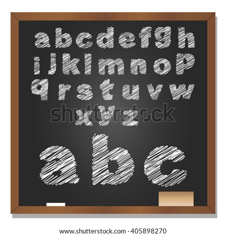 3D illustration of concept or conceptual set or collection of white grungy handwritten, sketch or scribble font, black school blackboard background for education, childhood, artistic, children - stock photo