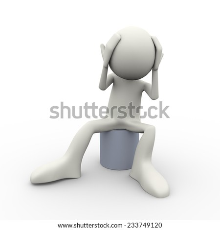 3d illustration of confused frustrated sad man with hands on his head. 3d human person character and white people - stock photo